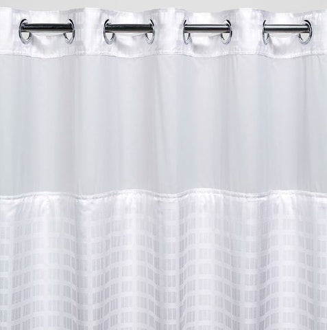 "Registry Hook-Free Checkered Windowed Shower Curtain, 71"" x 77"""
