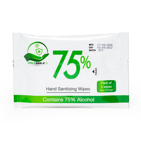 Hand Sanitizing Wipes 5-Pack, 75% alcohol