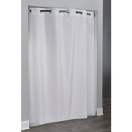 "Hookless® Embossed Moirè Fabric Shower Curtain White 71"" W x 74"""