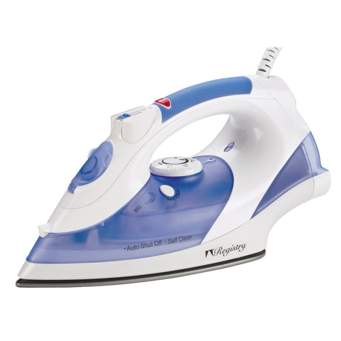 Registry Full-Size Anti-Drip Iron with Swivel Cord, White With Blue