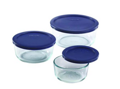 Pyrex Round Food Storage Containers, 6 Pieces, Blue & Clear