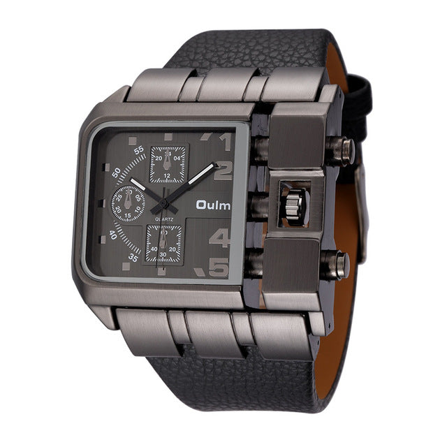 OULM Brand Original Unique Design Square Men Wristwatch Wide Big Dial Casual Leather Strap Quartz Watch Male Sport Watches - Bidwatch