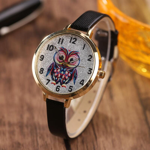MINHIN Women Cute Leather Strap Watches Owl Design Student Quartz Wristwatches Ladies Casual Dress Bracelet Wrap Watches Gift - Bidwatch