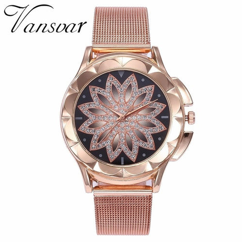 Fashion Women Rose Gold Flower Rhinestone Wrist Watches Luxury Casual Female Quartz Watch Relogio Feminino Drop Shipping - Bidwatch