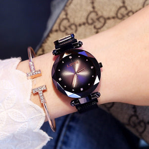 Luxury Rose Gold Women Watches Fashion Diamond Ladies Starry Sky Magnet Watch Waterproof Female Wristwatch For Gift Clock 2019 - Bidwatch