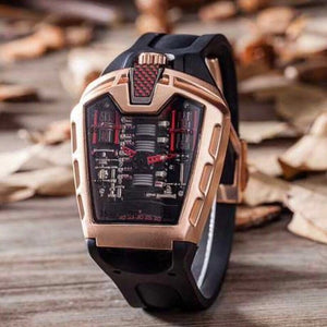 Men's Luxury Brand New Quartz Stainless Steel Glass Back Rubber Silver Rose Gold Sports Watches Clock Gents Dress Montre Watch - Bidwatch