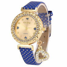 Load image into Gallery viewer, Women Love Heart Bracelet Leather Diamond Quartz Wrist Watch Girl Pretty Women - Bidwatch