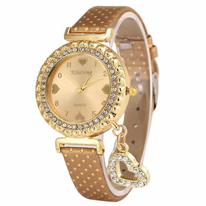 Women Love Heart Bracelet Leather Diamond Quartz Wrist Watch Girl Pretty Women - Bidwatch