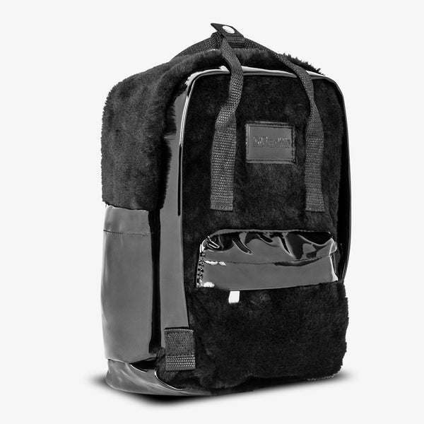 Abby Backpack Patent / Fur Black
