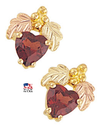 Black Hills Gold Garnet Heart Earrings