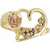 Black Hills Gold Heart Rose Mother's Ring - 1 to 6 stones (G923)