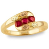 Black Hills Gold Three Stone Ruby Ring