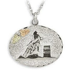 Black Hills Gold Silver Barrel Racer Necklace (MR2921)