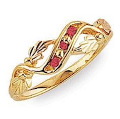 Black Hills Gold Three Stone Ruby Ring (G64SY)