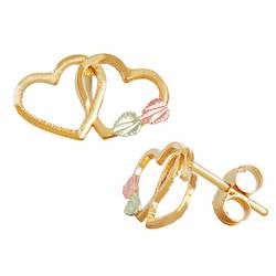 Black Hills Gold Double Heart Earrings (GL01301)