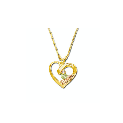 Black Hills Gold Heart Necklace with Diamond (GL03311X)