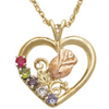 Black Hills Gold Heart Mother's Birthstone Necklace - 1 to 6 Stones (GL3593)