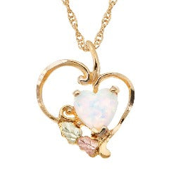 Sterling Silver or Yellow Gold Heart Opal Necklace (MRLPE628 / GLPE928)