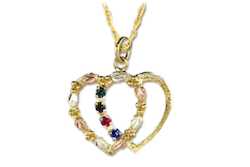 Black Hills Gold Heart Mother's Necklace - 2 to 4 stones (GLPE899)