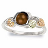 Black Hills Gold Silver Chocolate Pearl Ring