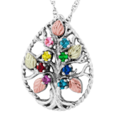 Black Hills Gold Silver Family Tree Necklace - 2 to 8 stones (MR20345)