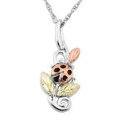 Black Hills Gold Silver Ladybug Necklace (MR20533)