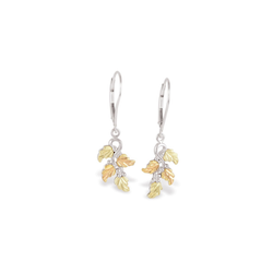 Black Hills Gold Silver Leaf Earrings (MR30004LR)