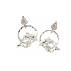 Black Hills Gold or Silver Dolphin  Earrings (GL3319LD / MR3319LD)