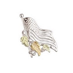 Black Hills Gold Silver American Flag Pin (MR5291)