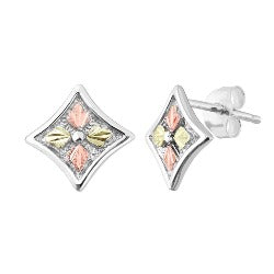 Black Hills Gold Silver Leaf Diamond Shaped Earrings