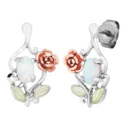 Sterling Silver  OR Yellow Gold Opal Rose Earrings