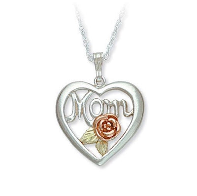 Black Hills Gold Silver Heart Mother's Birthstone Necklace - 1 to 6 Stones (MRLPE518)