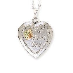 Black Hills Gold Silver Heart Picture Locket (MRLPE627)