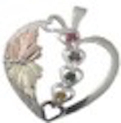 Black Hills Gold Silver Heart Mother's Birthstone Necklace - 2 to 6 Stones (MRLPE858)