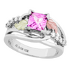 Black Hills Gold Silver Pink Sapphire Ring