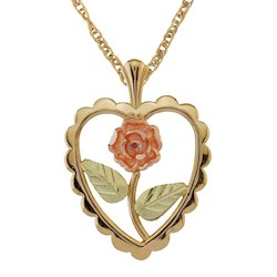 Black Hills Gold Heart Rose Necklace (2GC25323)