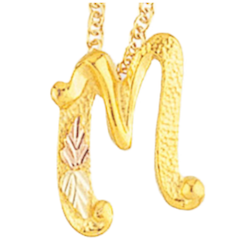 Black Hills Gold Silver or Gold Initial Necklace (MR2277 or G2277)