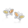 Black Hills Gold Silver Butterfly Earrings -Childs