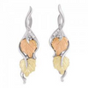 Black Hills Gold Silver Designer Diamond Leaf Earrings