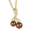 Black Hills Gold Diamonds & Chocolate Pearls Necklace