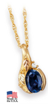Black Hills Gold Sapphire and Diamond Necklace