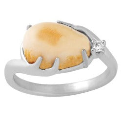 Black Hills Gold Sterling Silver Elk Ivory Ladies Diamond Ring (IS1975CCD)