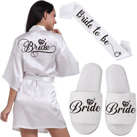 BLACK BRIDE ROBE SLIPPERS & SASH