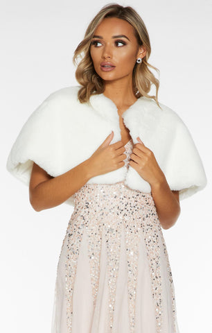 White Faux Fur Wrap Cape (4518100762755)