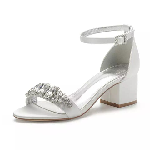 LADY - Ivory Block Heel Crystal