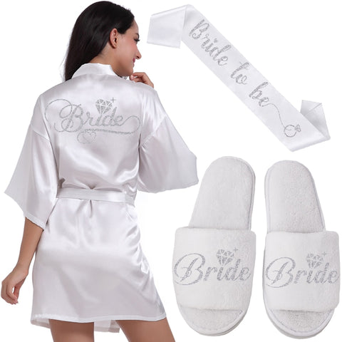 Silver Bride robe slippers & ribbon