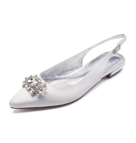 Mar Hermoso - White Diamante Ballerinas (2123928436803)