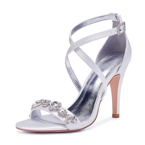 ELIANA - White Diamanté Heels