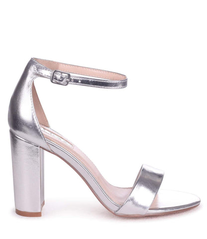 NELLY Metallic Silver Bridal - Block Heel