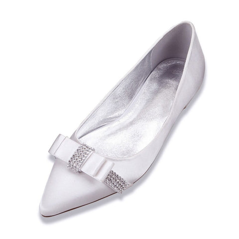 BOW Bridal Satin Pointed flats (4355852370051)